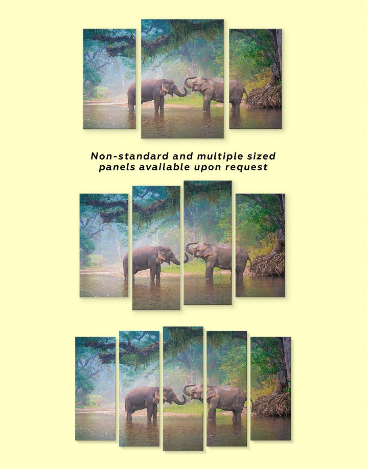 African Elephants in Water Canvas Wall Art - Image 3