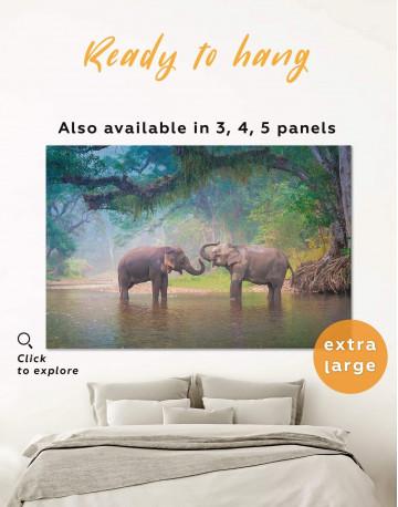 African Elephants in Water Canvas Wall Art
