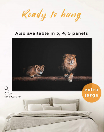 Lions Family Canvas Wall Art