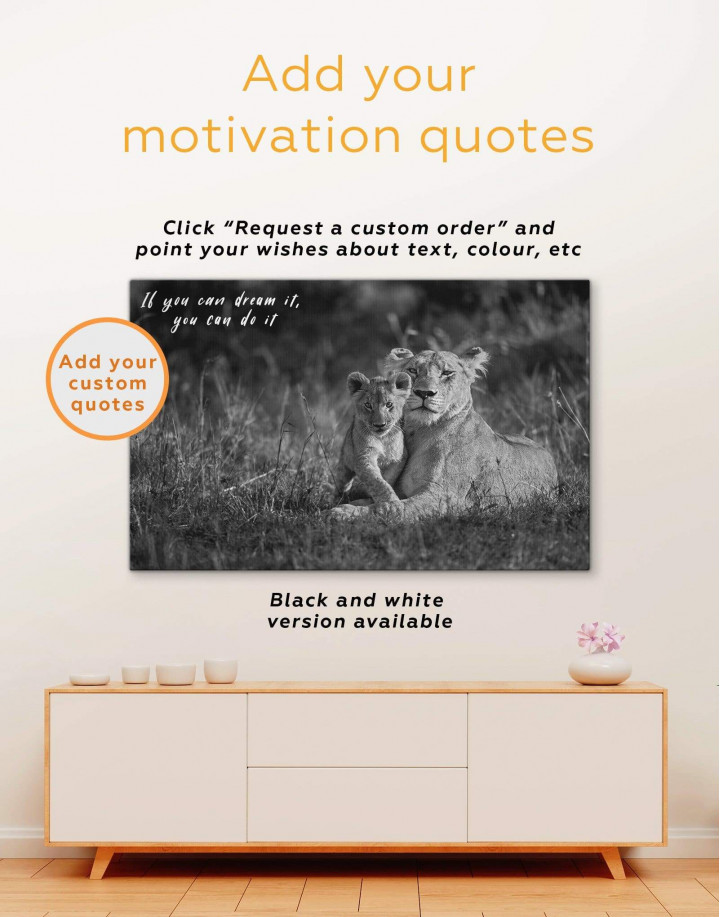 Lioness and Baby Lion Canvas Wall Art - Image 3