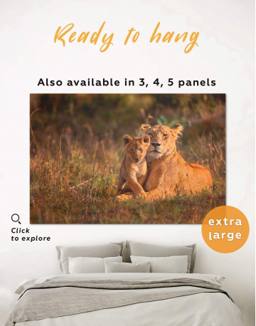 Lioness and Baby Lion Wall Art Canvas Print alt