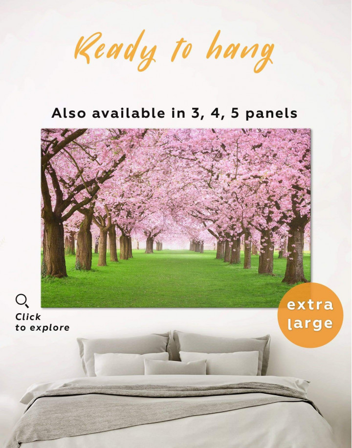 Cherry Blossom Forest Canvas Wall Art - Image 0