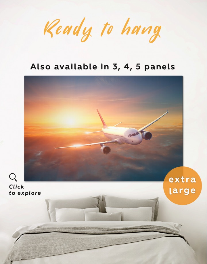 Flying Airplane Canvas Wall Art
