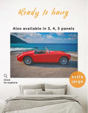 Red Retro Car on Beach Canvas Wall Art