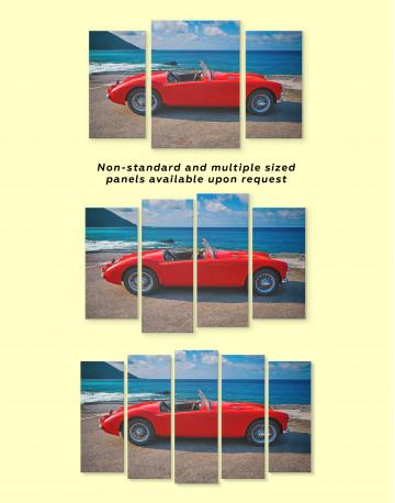 Red Retro Car on Beach Canvas Wall Art - image 3