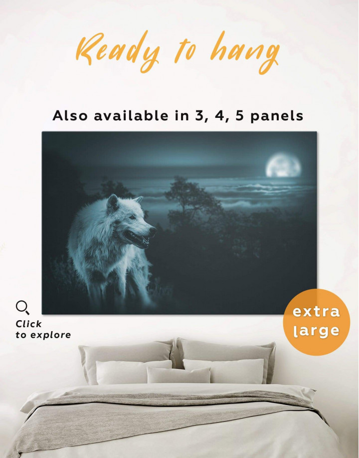 Wolf in Forest Canvas Wall Art - Image 0