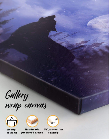 Howling Wolf at Night Canvas Wall Art - image 3