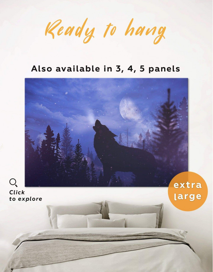 Howling Wolf at Night Canvas Wall Art - Image 0