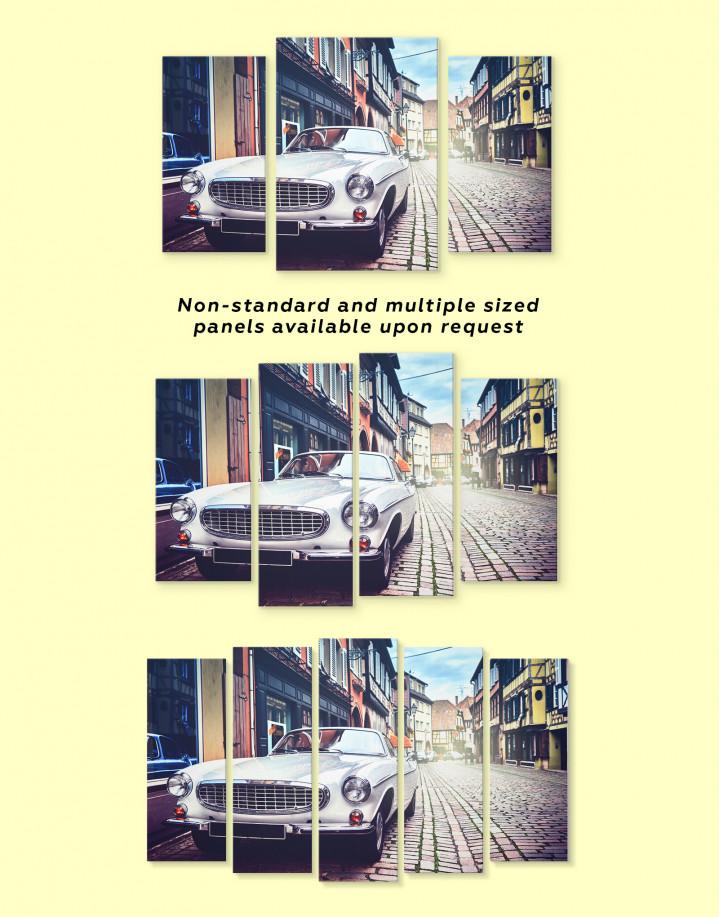 White Retro Car on Street Canvas Wall Art - Image 3