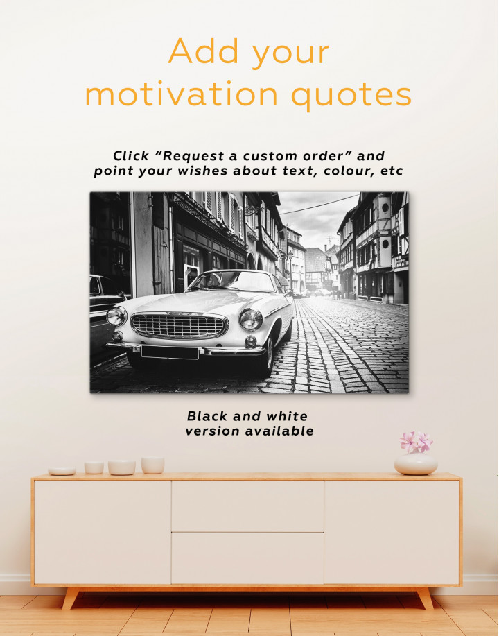 White Retro Car on Street Canvas Wall Art - Image 1
