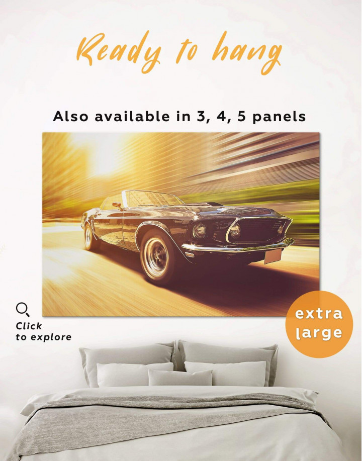 Retro Ford Mustang Canvas Wall Art - Image 0