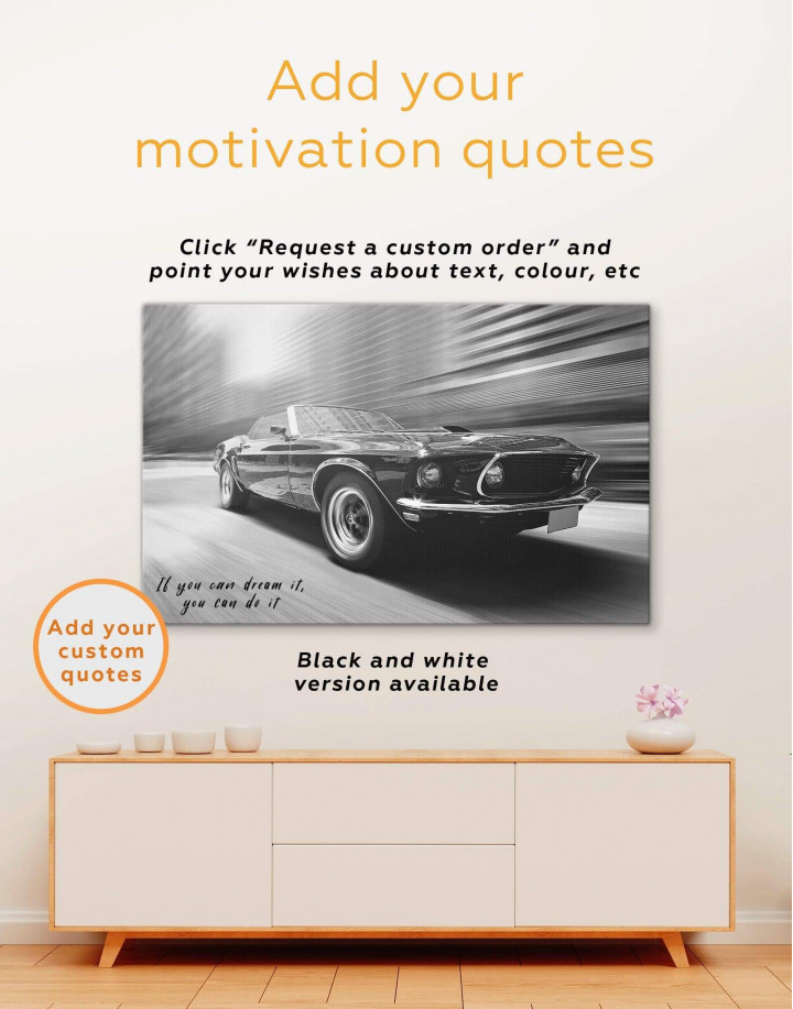 Retro Ford Mustang Canvas Wall Art - Image 1