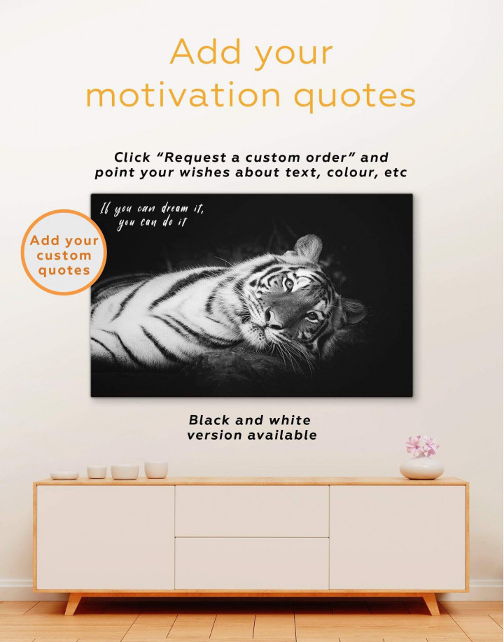 Black and White Wild Tiger Canvas Wall Art - Image 1