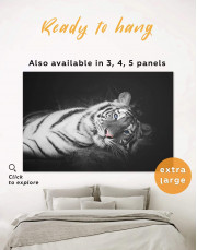 Black and White Wild Tiger Canvas Wall Art - Image 0