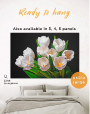 White Tulips Canvas Wall Art - Image 0