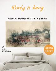Watercolor Locomotive Canvas Wall Art