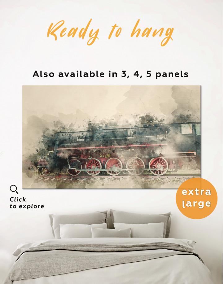 Watercolor Locomotive Canvas Wall Art - Image 0