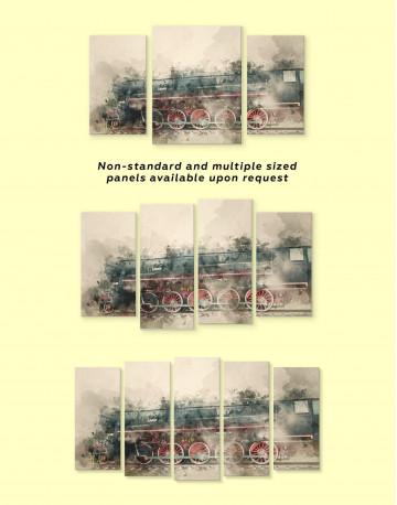 Watercolor Locomotive Canvas Wall Art - image 1