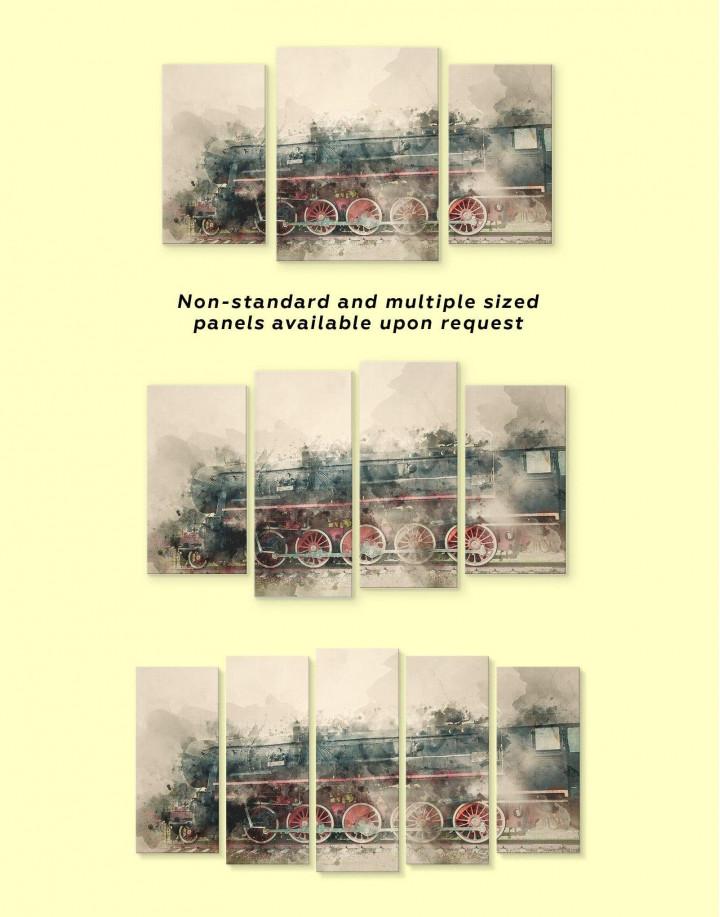 Watercolor Locomotive Canvas Wall Art - Image 3