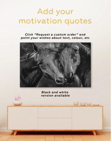 Brown Horses Painting Canvas Wall Art - image 2