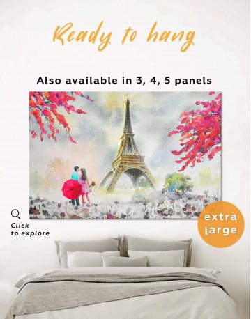 Couple in Paris City Canvas Wall Art
