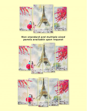 Couple in Paris City Canvas Wall Art - image 2