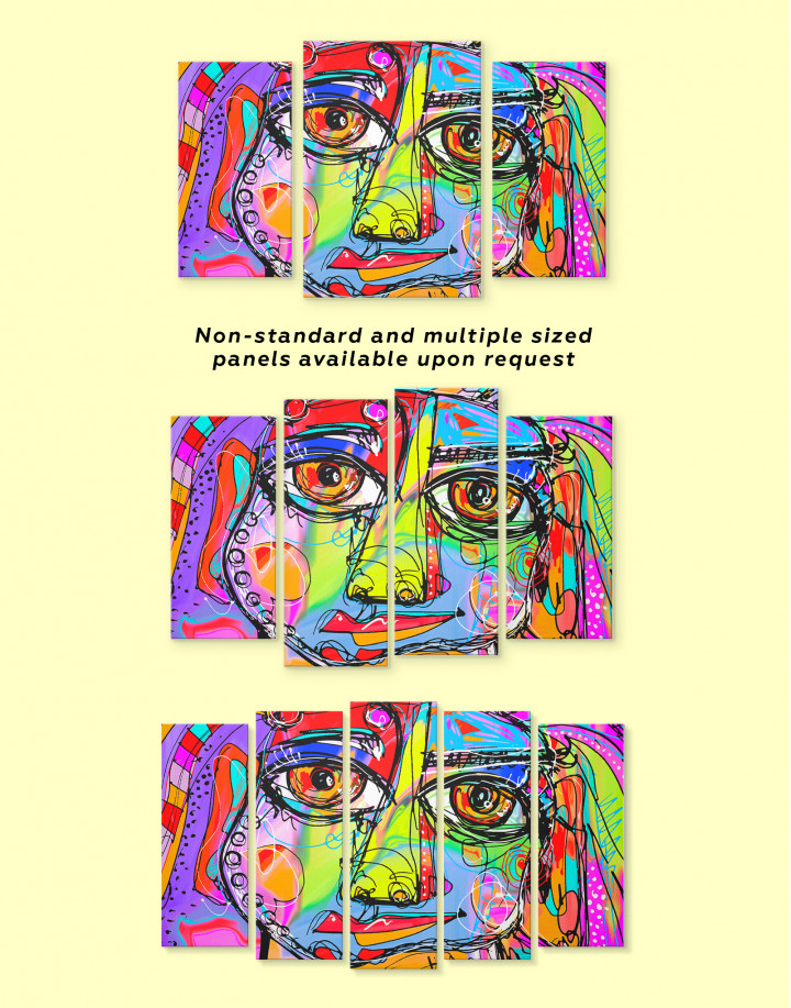Abstract Modern Face Painting Canvas Wall Art - Image 2
