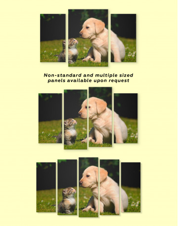 Puppy Labrador with Kitten Canvas Wall Art - image 3