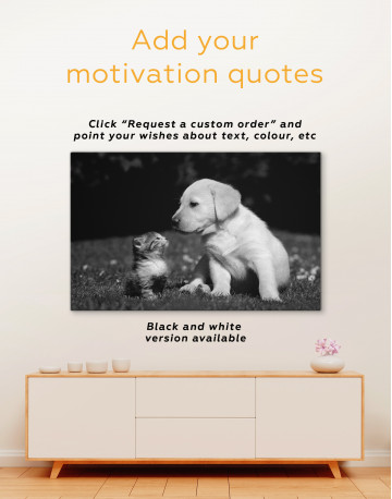 Puppy Labrador with Kitten Canvas Wall Art - image 2
