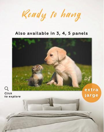 Puppy Labrador with Kitten Canvas Wall Art