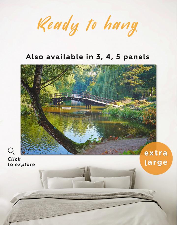 Wooden Bridge on a River Canvas Wall Art