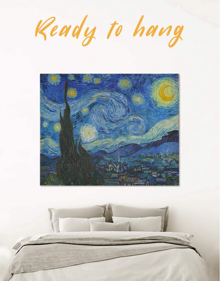 Starry Night Van Gogh Canvas Wall Art - Image 0