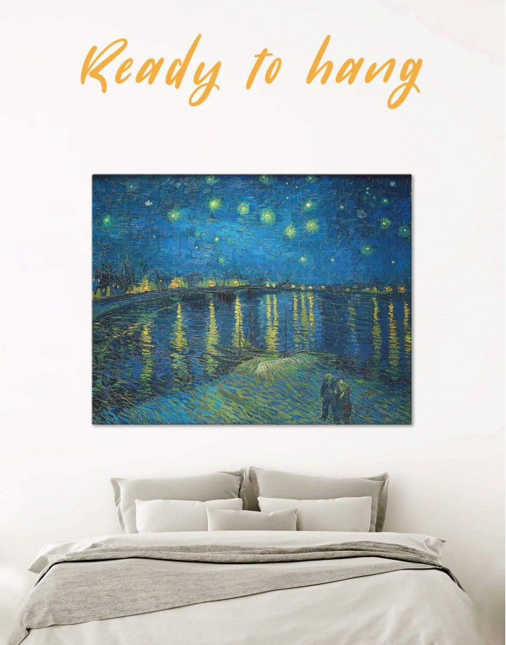 Starry Night Over the Rhone Van Gogh Canvas Wall Art - Image 0