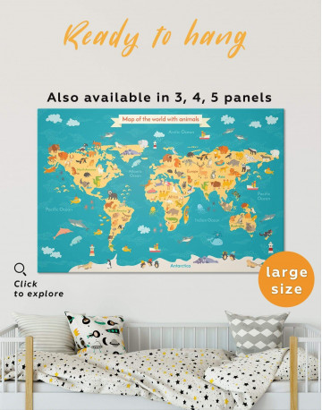 Animal Nursery World Map Canvas Wall Art