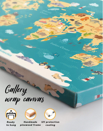 Animal Nursery World Map Canvas Wall Art - image 3