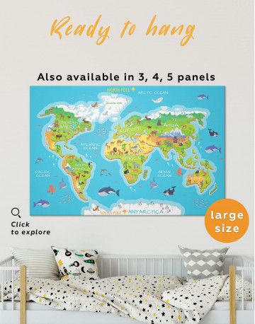 Childrens Bedroom World Map Canvas Wall Art