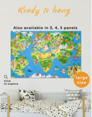 Childrens World Map with Places Canvas Wall Art