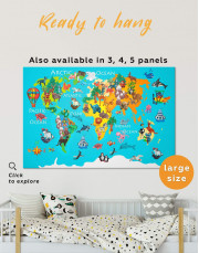 Animal Map for Children Room Canvas Wall Art - Image 0
