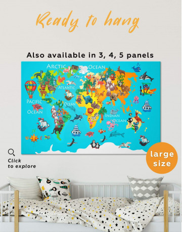 Animal Map for Children Room Canvas Wall Art