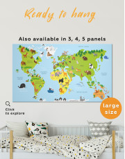 Kids World Map with Animals in Nursery Canvas Wall Art