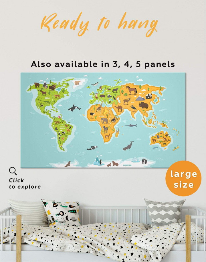 Kids World Map With Animals Canvas Wall Art - Image 0
