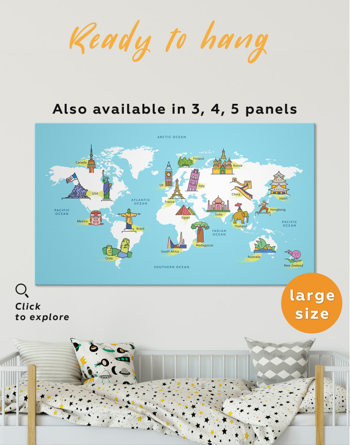Kids World Map with Famous Places Canvas Wall Art