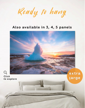 Hot Springs in Iceland Landscape Canvas Wall Art