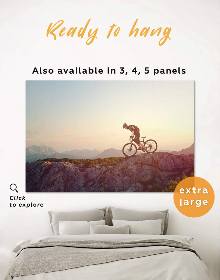 Mountain Cyclist Canvas Wall Art - Image 0