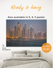 Cityscape at Night with Sea Canvas Wall Art