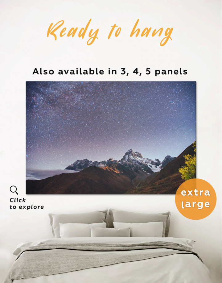 Mountain Landscape with Starry Sky Canvas Wall Art
