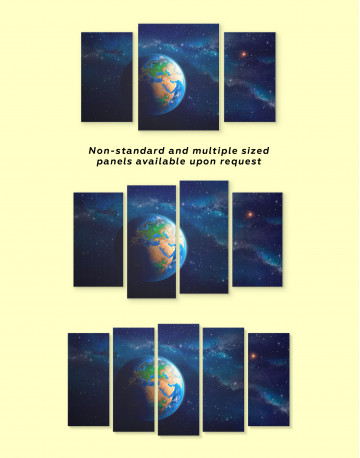 Space View with Planet Earth Canvas Wall Art - image 1