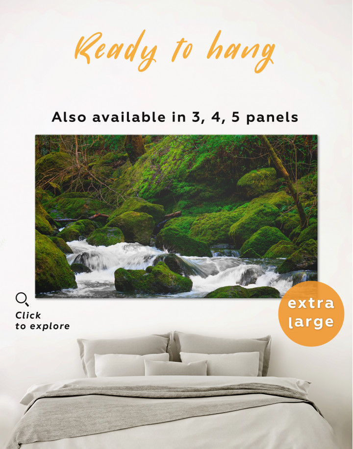 Mountain River in Forest Canvas Wall Art