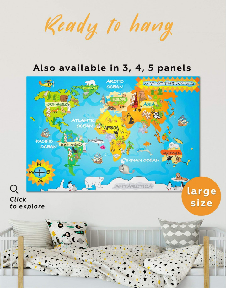 Animal Kids World Map Canvas Wall Art - Image 0