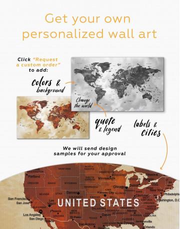 Brown Push Pin World Canvas Wall Art - image 2